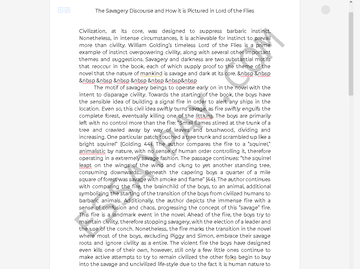 lord of the flies savagery - Free Essay Example