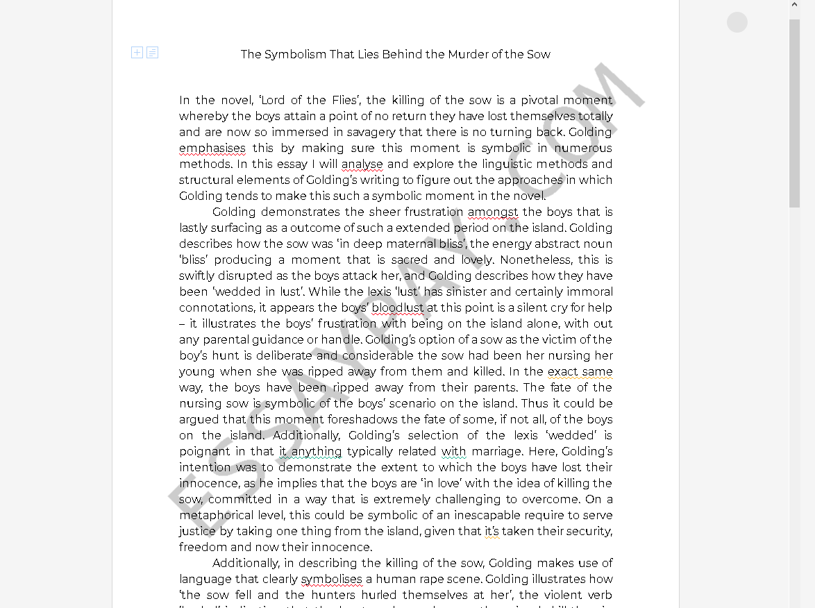 lord of the flies sow - Free Essay Example