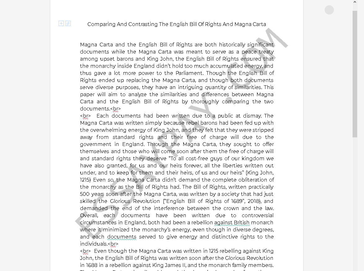 magna carta and english bill of rights - Free Essay Example