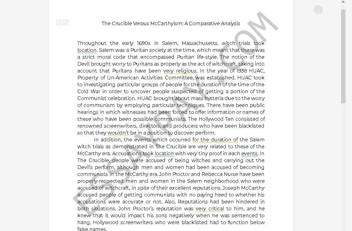 Essay on mccarthyism