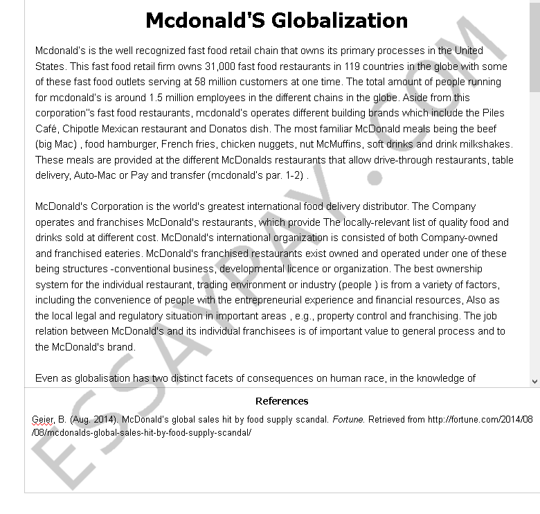 mcdonald's globalization - Free Essay Example