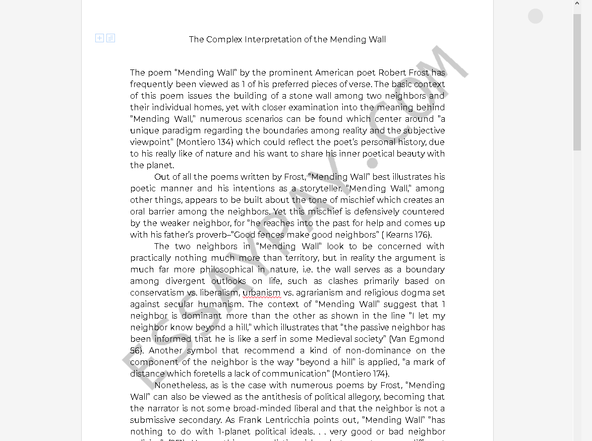 mending wall essay - Free Essay Example