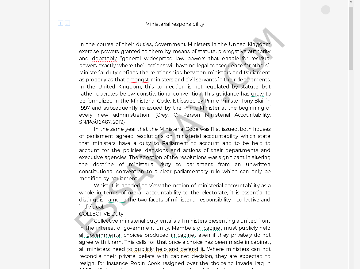 ministerial responsibility definition - Free Essay Example