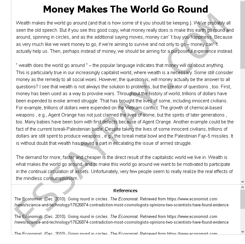money makes the world go round - Free Essay Example