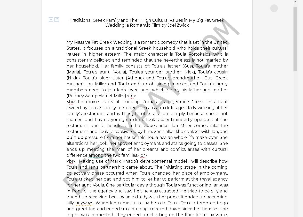 My Big Fat Greek Wedding Essay | Bartleby