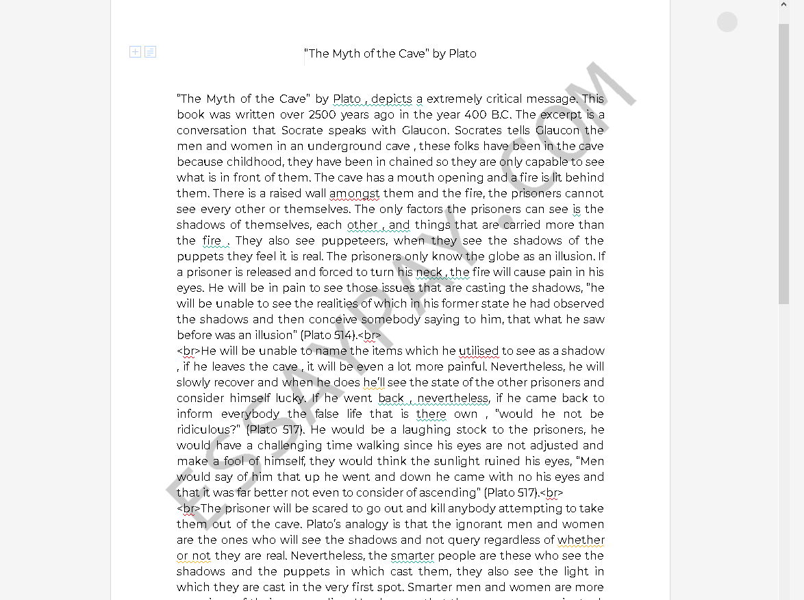 myth of the cave - Free Essay Example