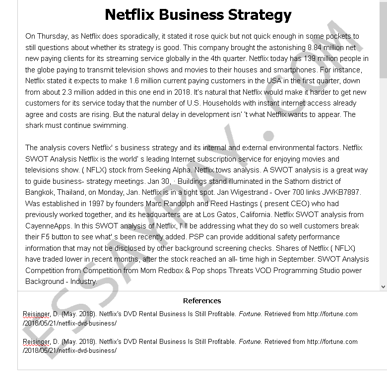 Business strategy essay