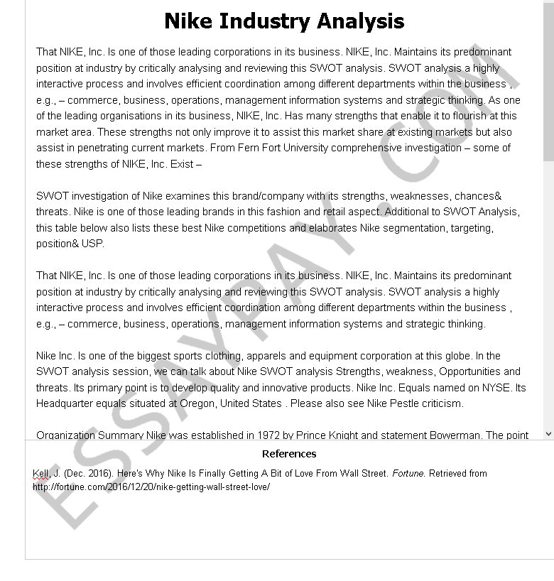 Nike Industry Analysis Essay Example For Free