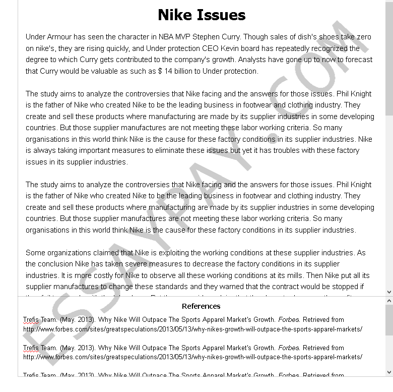 nike issues - Free Essay Example