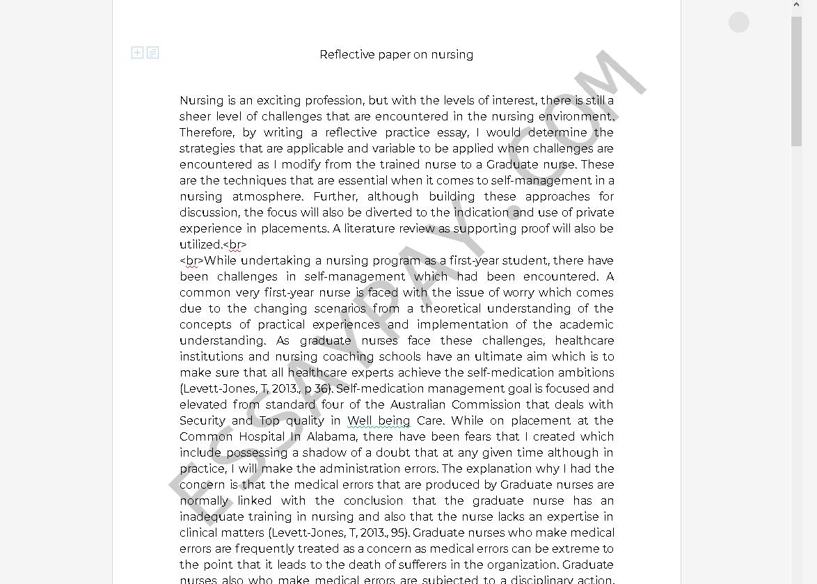 Nursing Reflective Essay- NursingPaper