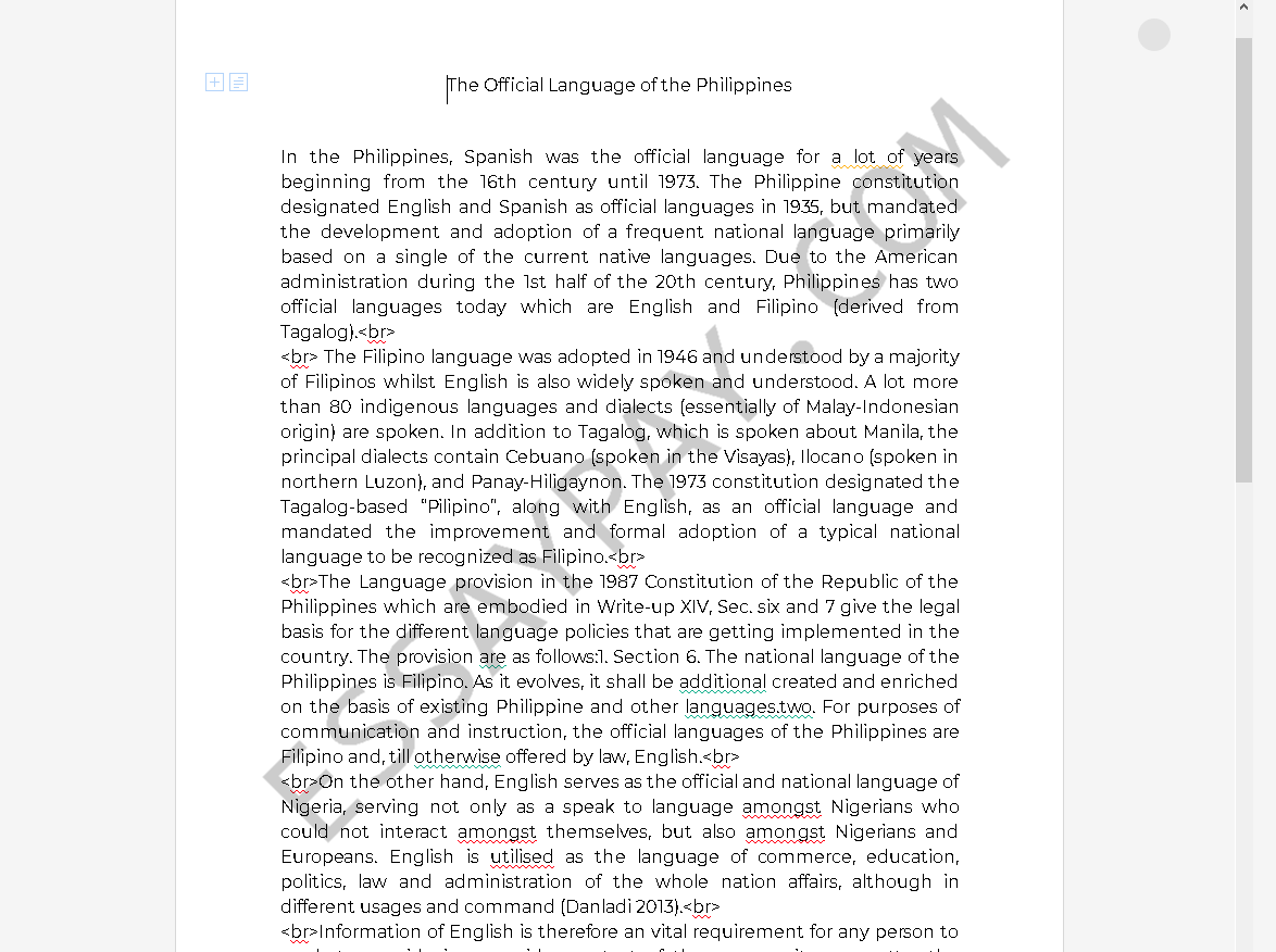 official language of philipines - Free Essay Example