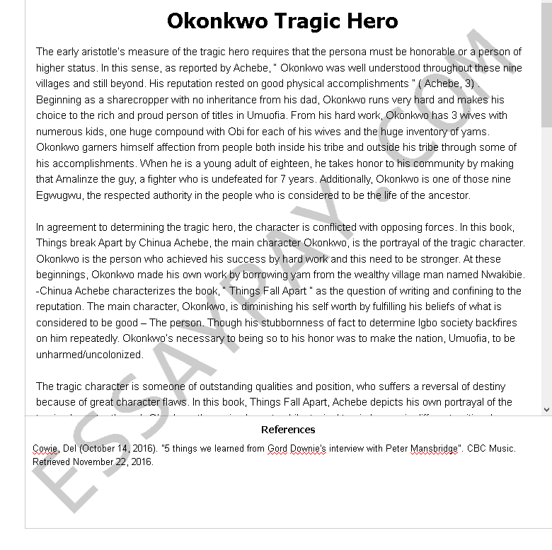 okonkwo tragic hero - Free Essay Example