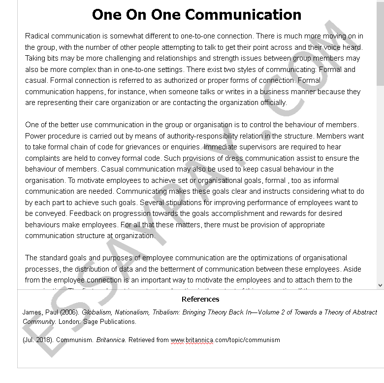 one on one communication - Free Essay Example