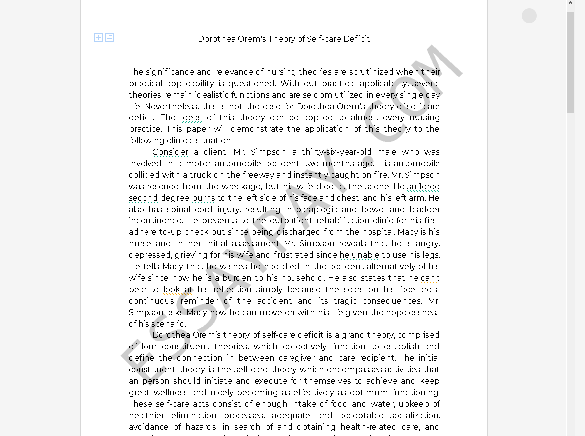 orem's theory of self care - Free Essay Example