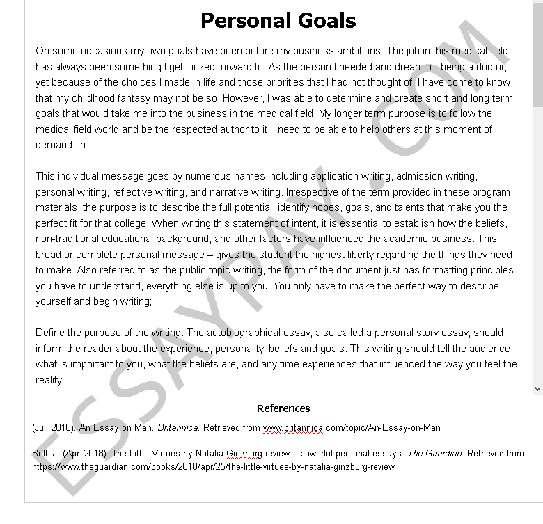 personal goal s - Free Essay Example