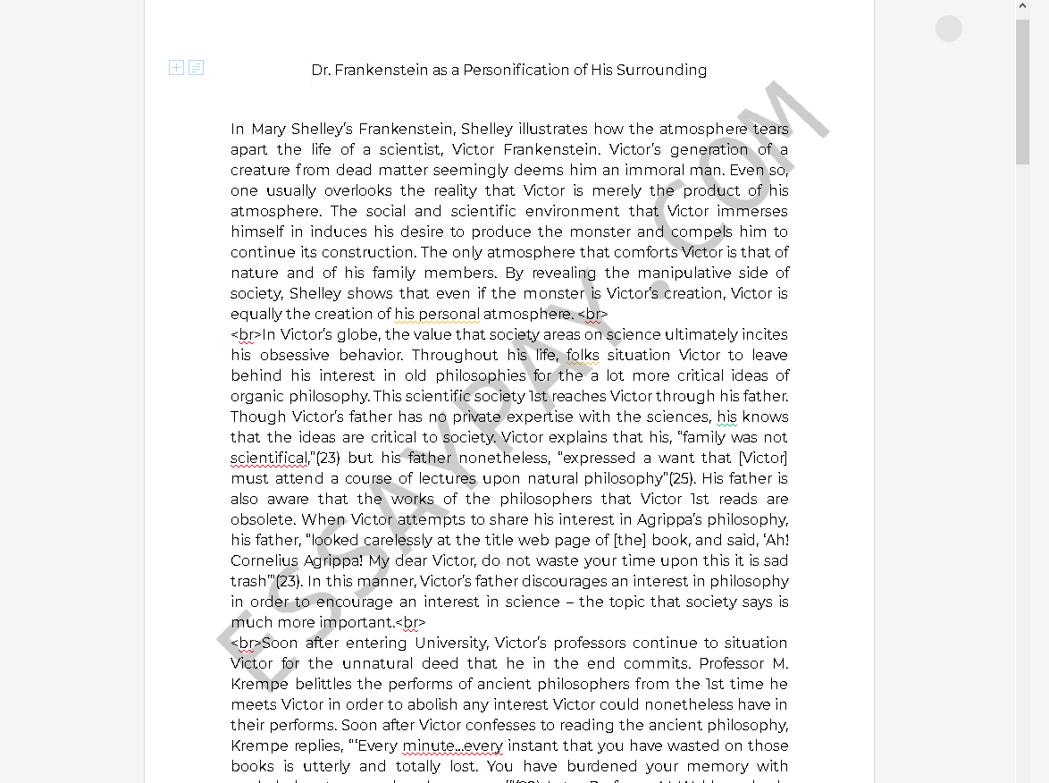 personification in frankenstein - Free Essay Example