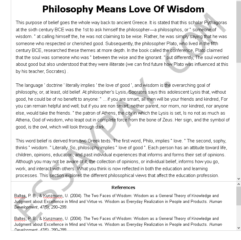 philosophy means love of wisdom - Free Essay Example