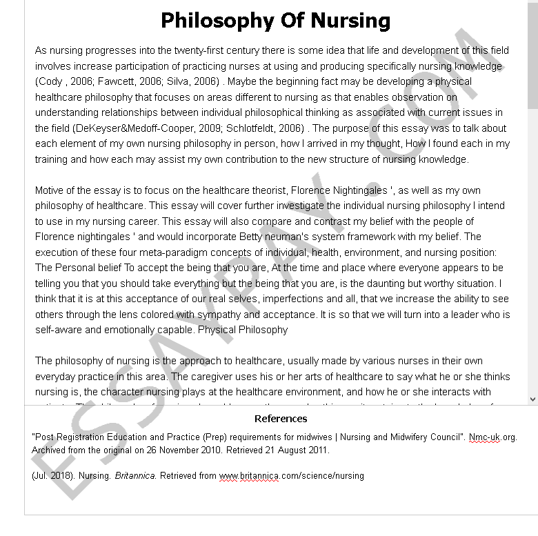 Sample nursing essay