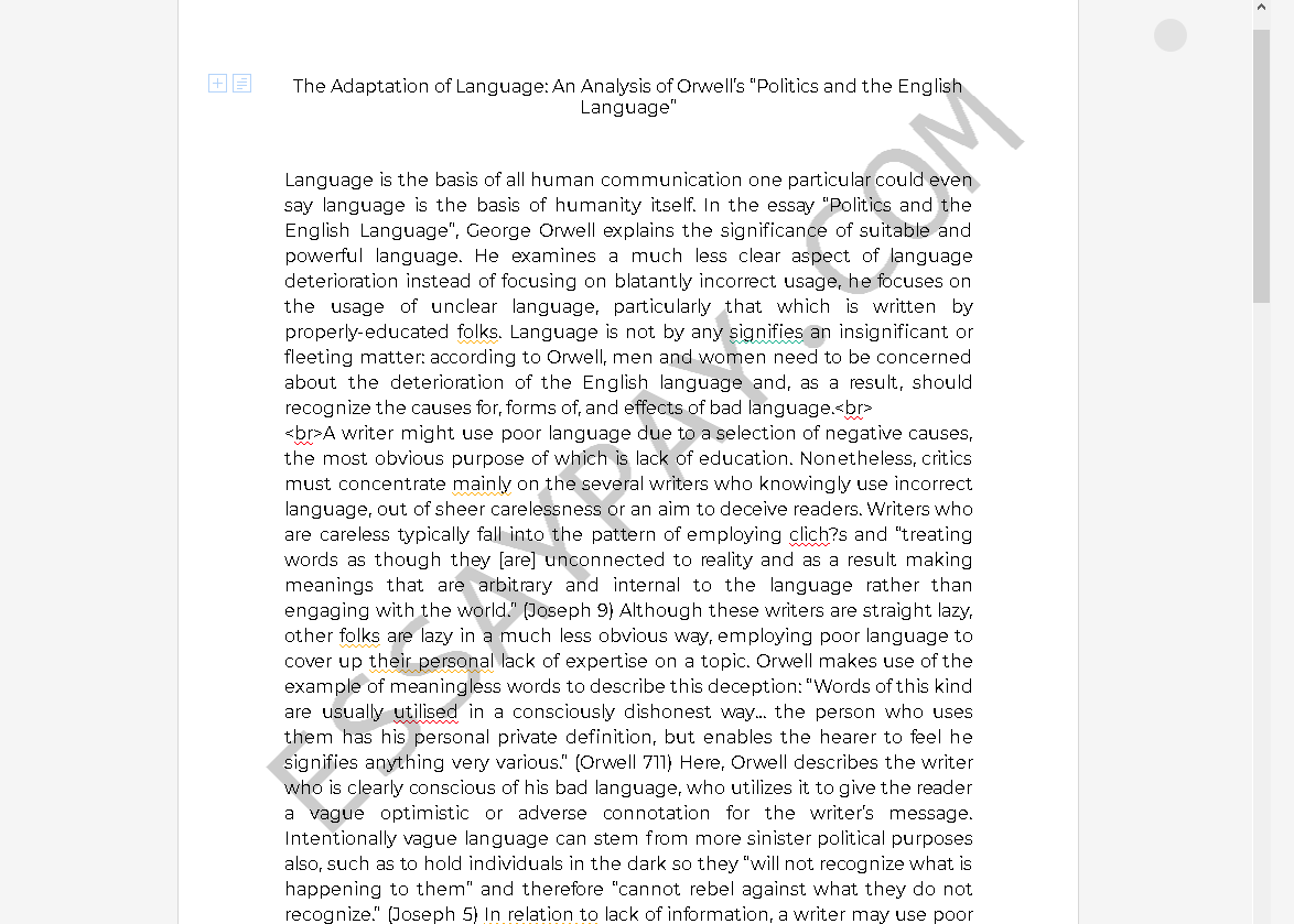 politics and the english language analysis - Free Essay Example