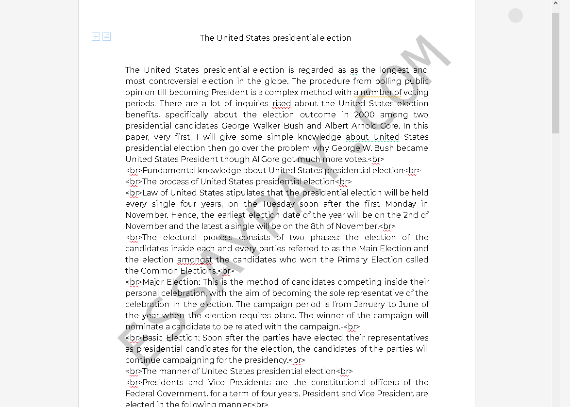 presidential election essay - Free Essay Example