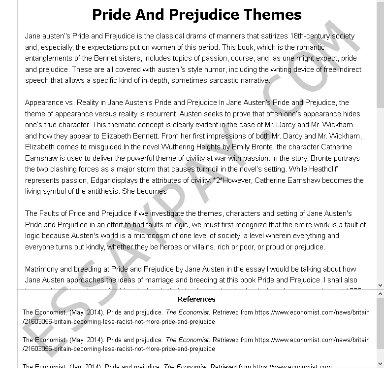 pride and prejudice themes - Free Essay Example