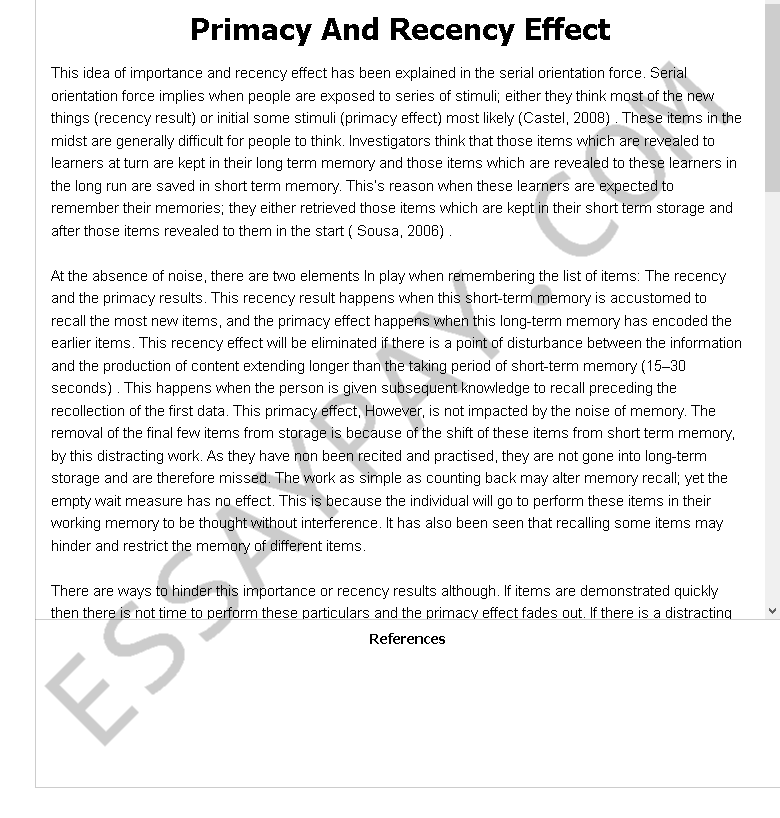 primacy and recency effect - Free Essay Example
