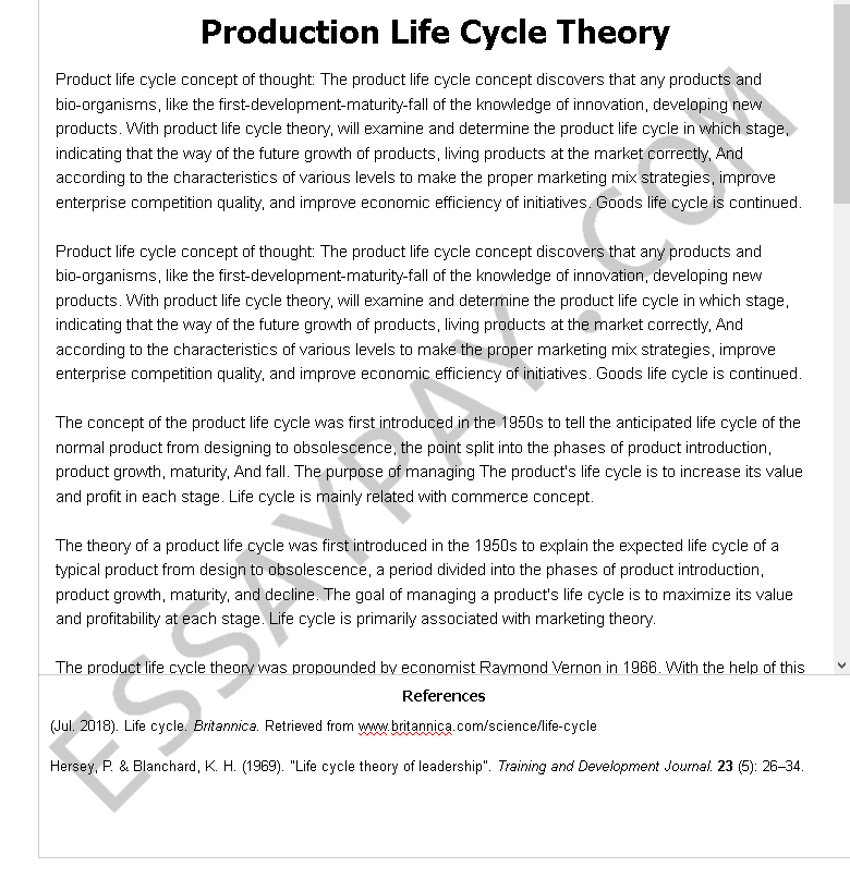 production life cycle theory - Free Essay Example