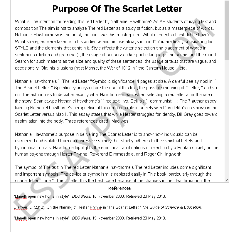 purpose of the scarlet letter - Free Essay Example