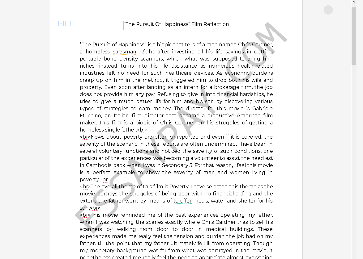 pursuit of happiness essay - Free Essay Example