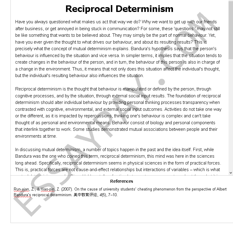 reciprocal determinism - Free Essay Example