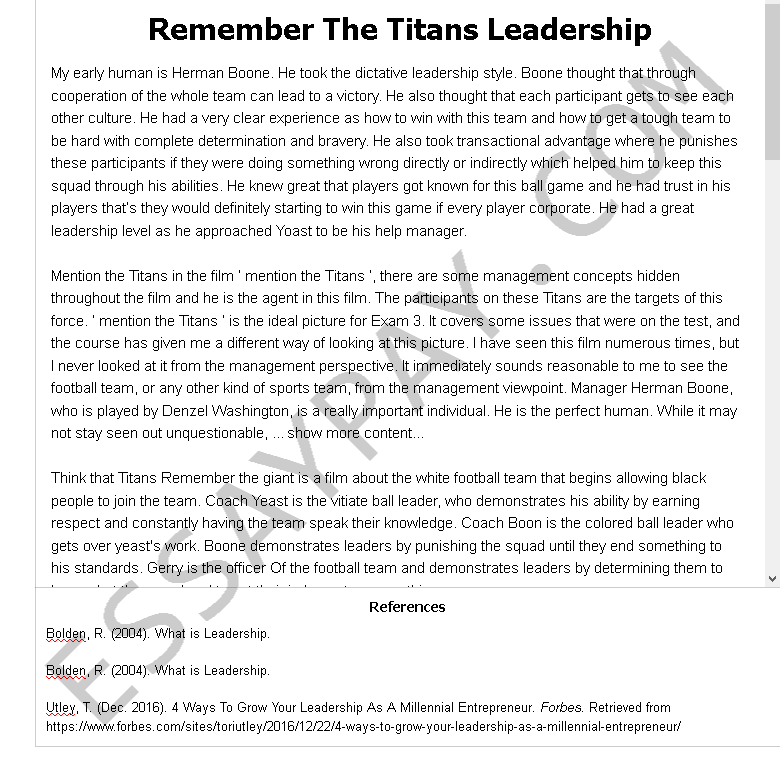 remember the titans leadership - Free Essay Example