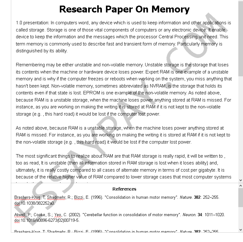 research paper on memory - Free Essay Example