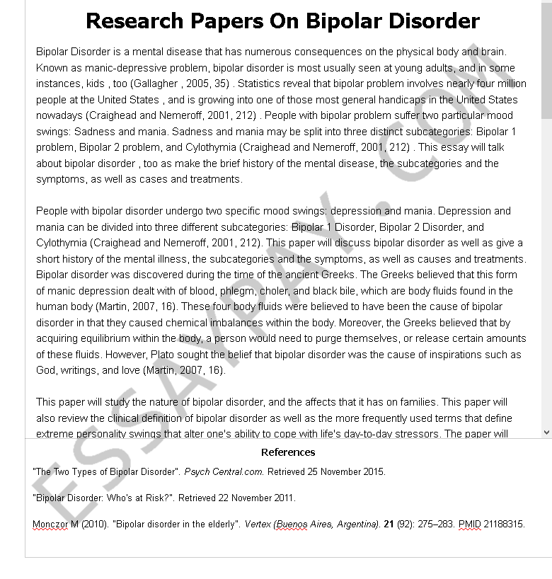 Bipolar disorder research paper thesis