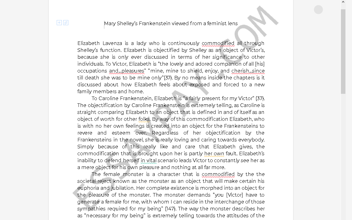 Mary shelley frankenstein essay