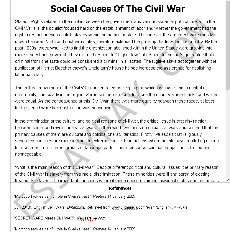 Essay With Apa Format  Expository Essay Samples also Essays About Veterans Social Causes Of The Civil War Essay Example For Free    Persuasive Essay On The Death Penalty