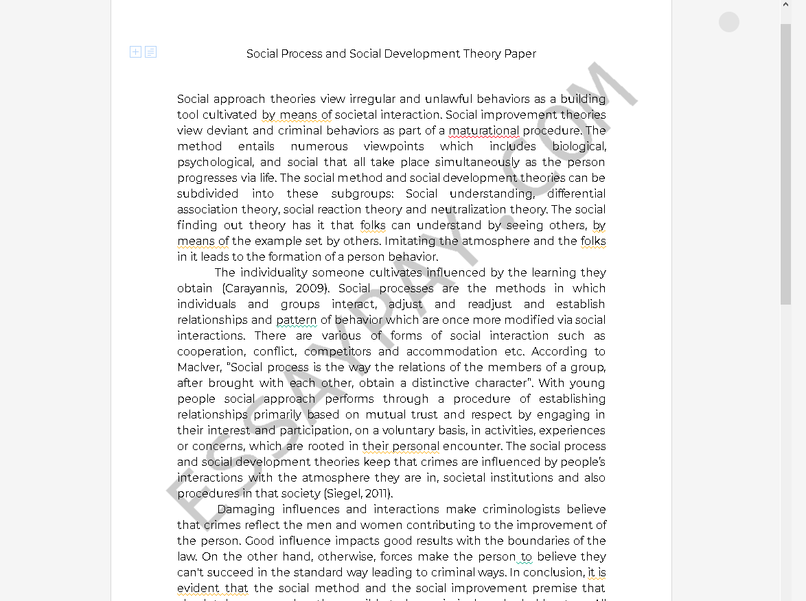 social process and social development theory - Free Essay Example