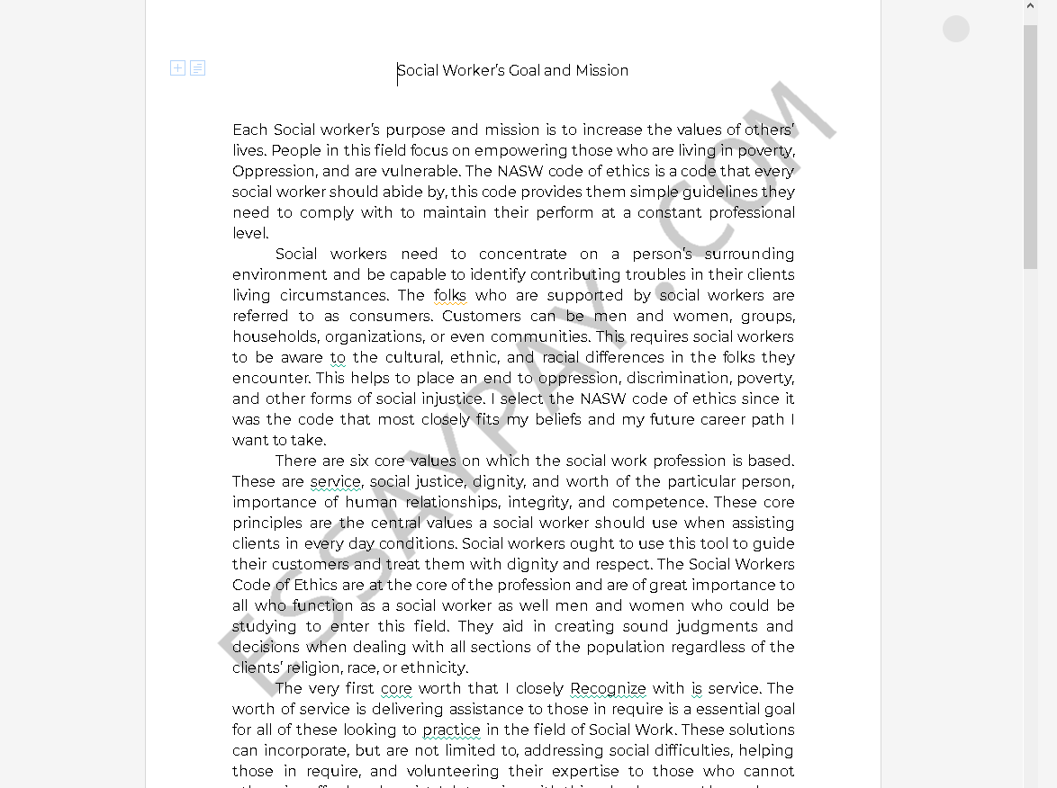 social worker essays - Free Essay Example