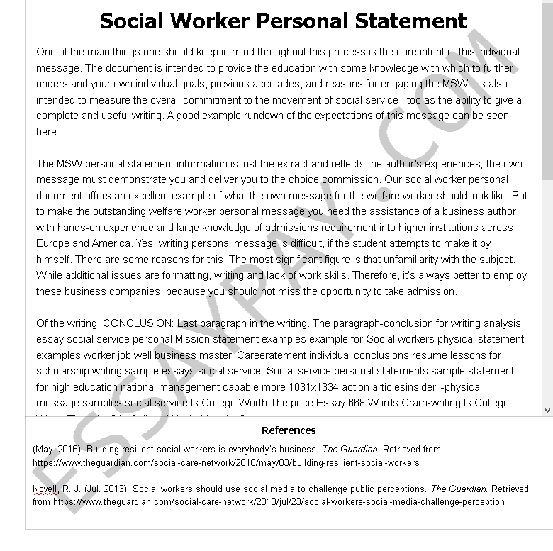 social worker personal statement - Free Essay Example