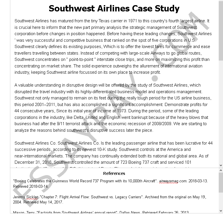 southwest airlines case study - Free Essay Example