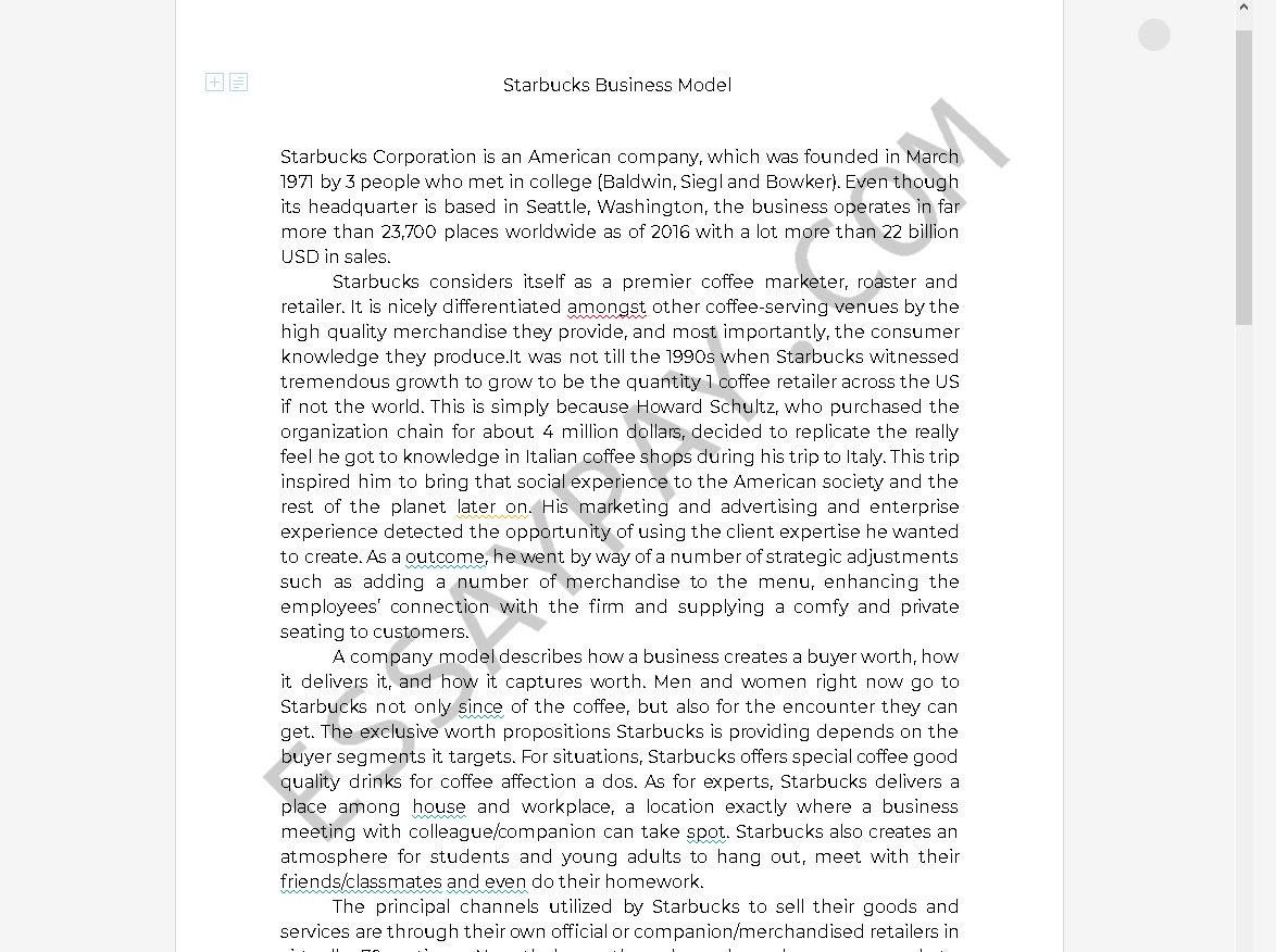Starbucks Essay | Bartleby
