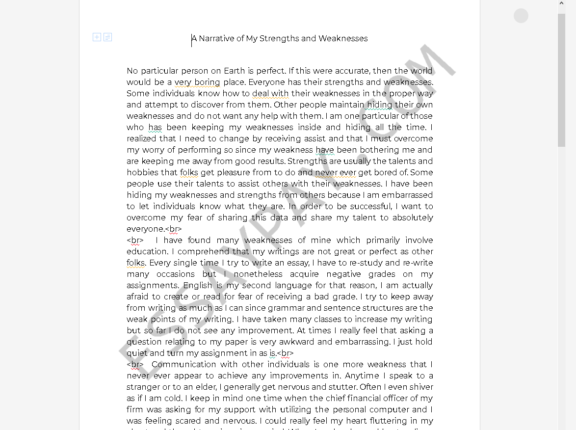 strengths and weaknesses essay - Free Essay Example