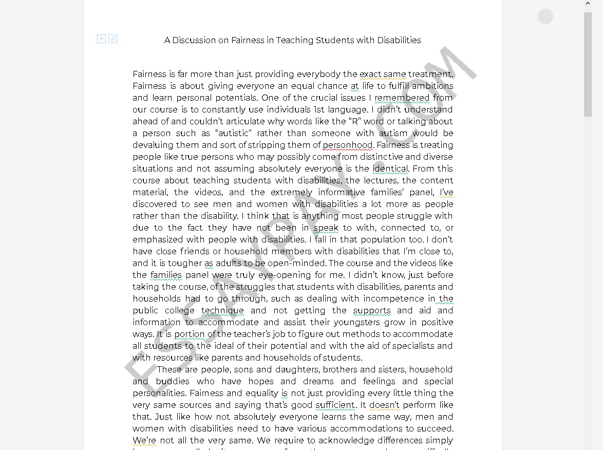 teacher fairness - Free Essay Example