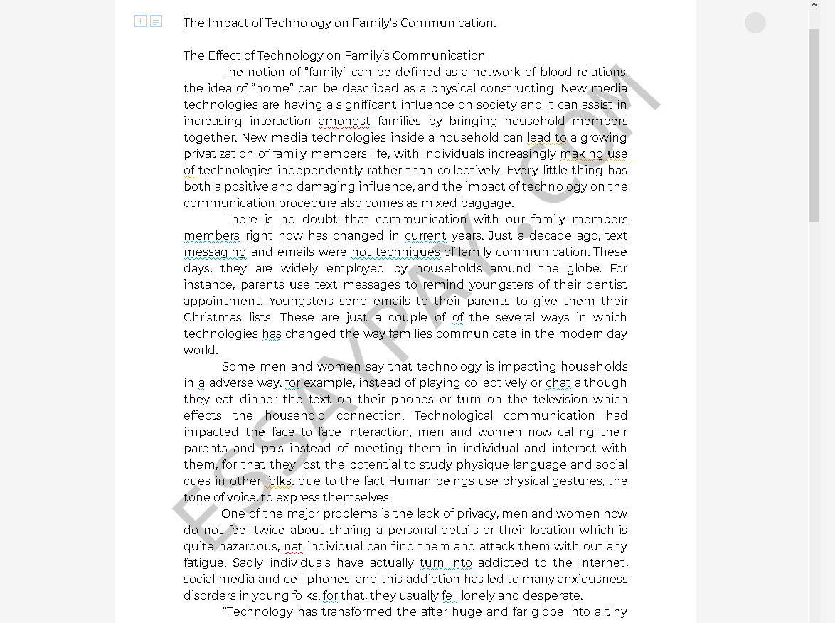 technology and family communication - Free Essay Example
