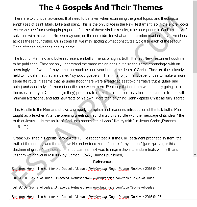 the 4 gospels and their themes - Free Essay Example