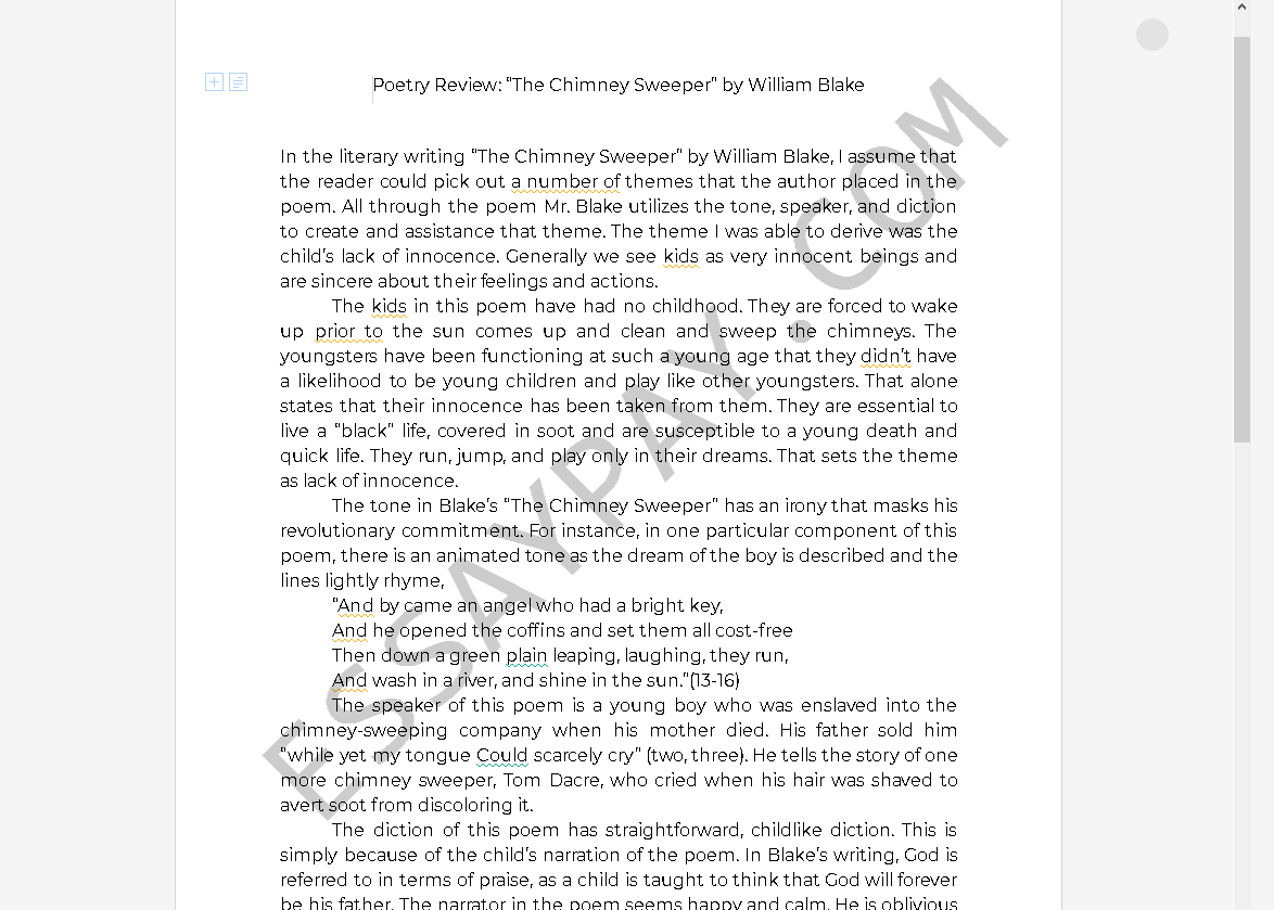 the chimney sweeper essay - Free Essay Example