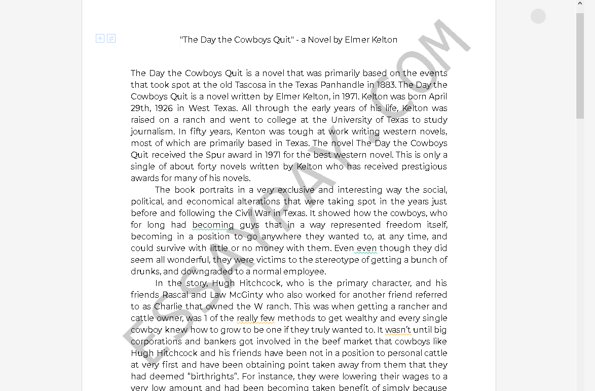 the day the cowboys quit characters - Free Essay Example
