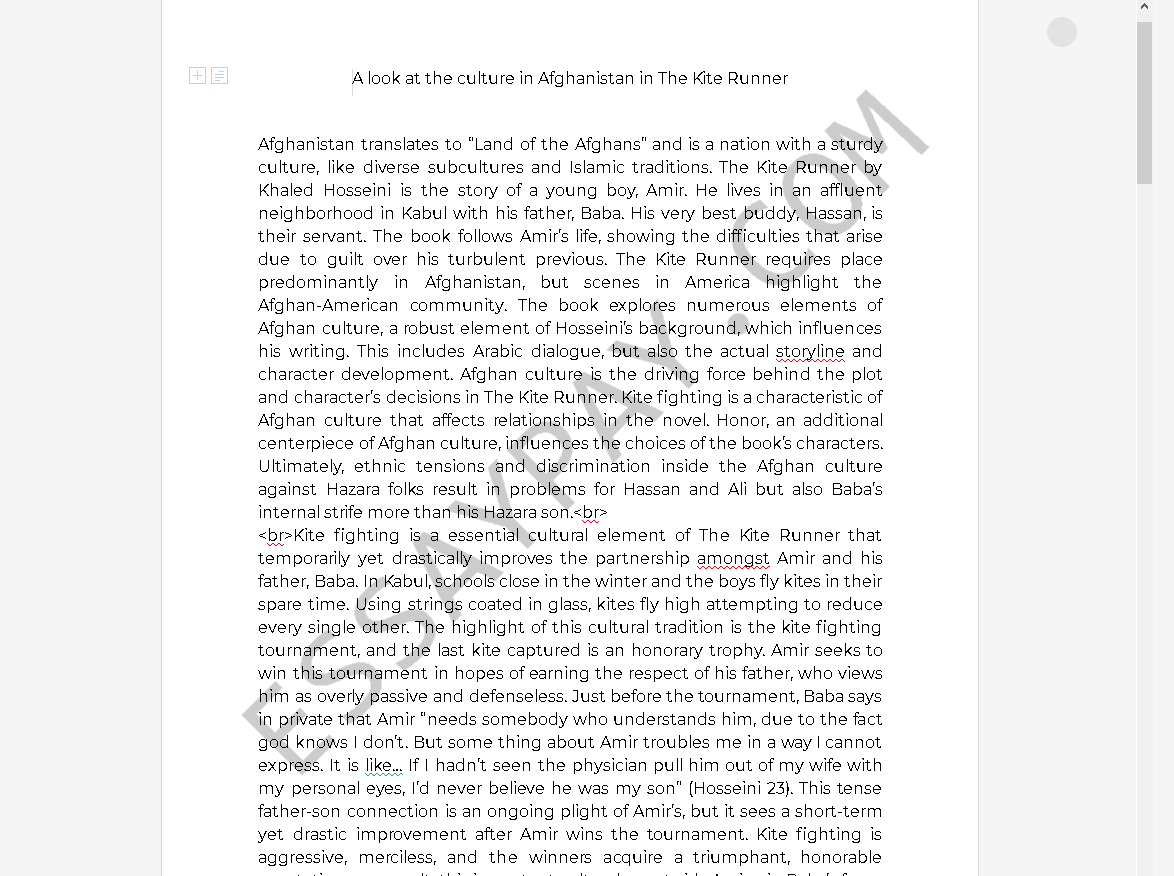 the kite runner culture - Free Essay Example