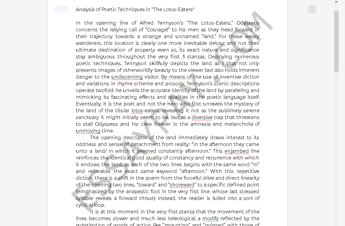 the lotos eaters analysis - Free Essay Example