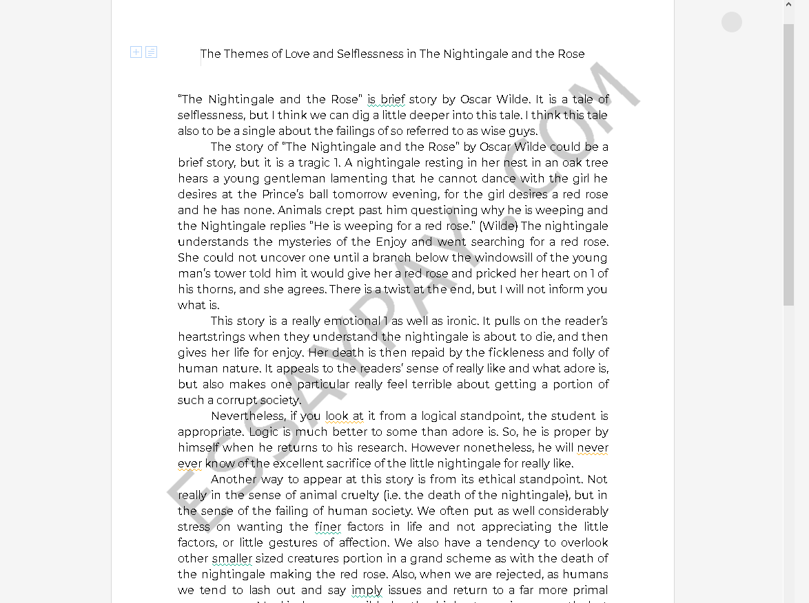 the nightingale and the rose theme - Free Essay Example