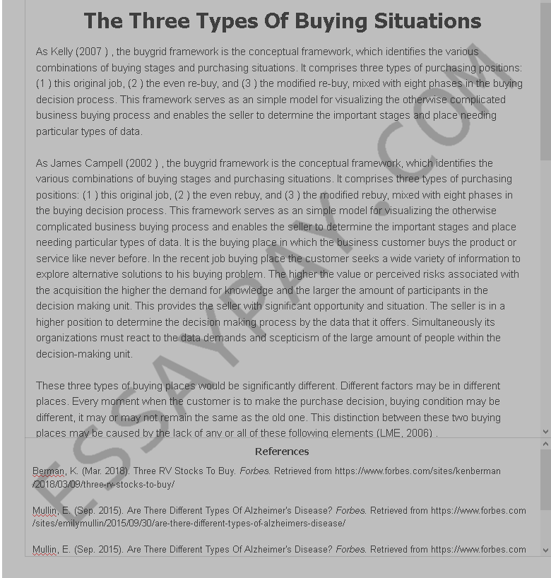 the three types of buying situations - Free Essay Example